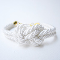 Nautical knot silk rope bracelet with white, tie the knot bracelet, bridesmaid gift