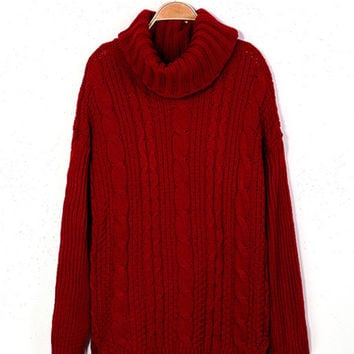 Zanzea Long Sleeve Turtleneck Cable Knitted Sweater