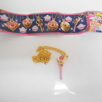 Sailor Moon Bandai Die-cast Crescent Moon Wand Necklace Limited