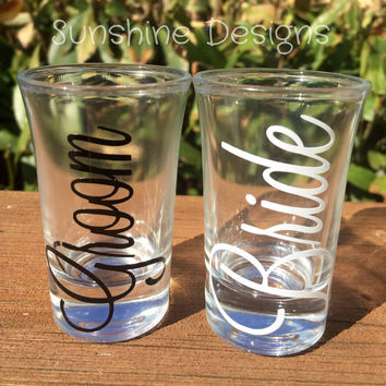 Bride and Groom Shot Glasses, Wedding Gift, Engagement Gift