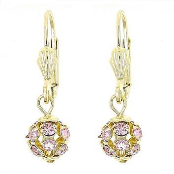Gold Layered 5.120.020 Dangle Earring, Ball Design, with  Cubic Zirconia, Polished Finish, Gold Tone