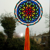 8 inches Flower of Life Suncatcher Mobile - Sacred Geometry Window Hanging Mandala - Stained Glass Style Wall Decor - Boho Hippie Home Decor