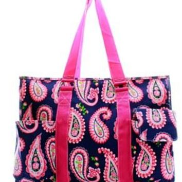 Utility Tote Multi-Pocket - Paisley Print - 2 Color Choices