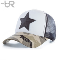 New 3D Five-pointed Star Embroidery Mesh Baseball Cap Fashion Summer Snap back Camouflage Hat Cap For Men & Women Leisure Cap