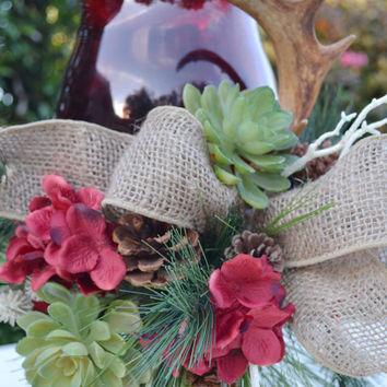 Red Floral Lamp with Burlap Bow-Hydrangea-Succulants-Grapes-Pinecones-Deer Horn-Christmas Decor-Wedding-Rustic Cottage Decor-Christmas Gift