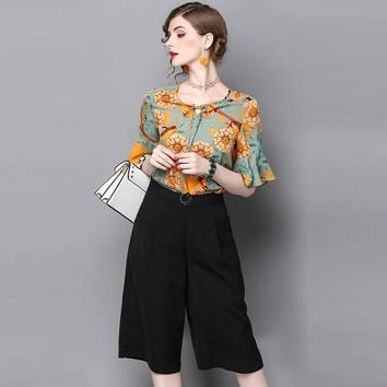 Womans clothing set yellow floral pattern print silk top flare sleeve black pants two-piece set