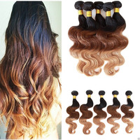 "HCM 18""+ Ombre Auburn 3 Color Human Hair Clip-In Extensions 100grams 4 pcs (4-DAY SALE)"