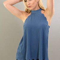 Scalloped Halter Top - Blue