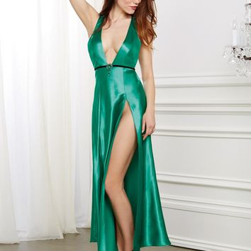 Satin Gown with Removable Jewelled Pin
