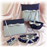 Wedding navy blue and silver grey pillow basket garters and guest book