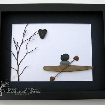 Unique Nautical Themed Artwork - Pebble Art - Kayak Themed Art -  Kayak Stone Art - Coastal Artwork - Ocean Themed Art