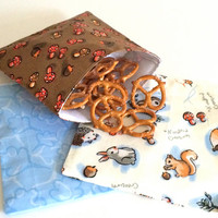 Woodland Creatures Set of Reusable Snack Bags Lunch Baggies and Sandwich Bags