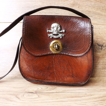 Leather Shoulder Saddle Bag, Death or Glory, Skull & Cross Bones, British Army Military 17th Lancers, Steampunk, Brown Pouch Purse Handbag