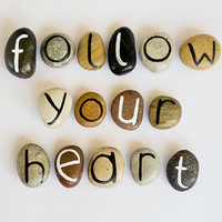 15 Magnets Letters, Custom Quote, Beach Pebbles, Follow Your Heart, Inspirational Word or Quote, Birthday Gift Ideas, Personalized, Rocks