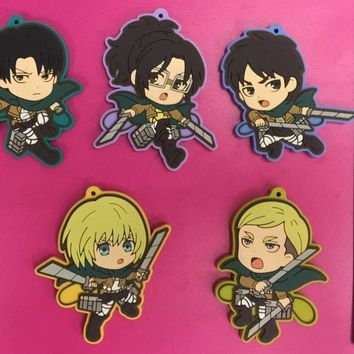 Cool Attack on Titan 5pcs/lot  Anime keychain Krista Lenz Rivaille Eren Armin Sasha Mantra Rubber strap/phone charms AT_90_11