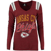Women's Kansas City Chiefs 5th & Ocean by New Era Red Tri-Blend V-Neck Long Sleeve T-Shirt