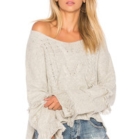 One Teaspoon Jethro Fringed Knit Sweater in Grey Marle | REVOLVE