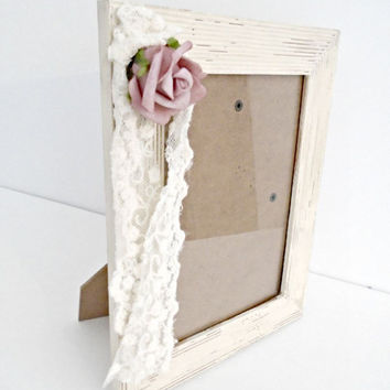 Shabby Chic Picture Frame, Lace and Rose Frame, Shabby Chic Decor, Antique White Frame, French Country Decor