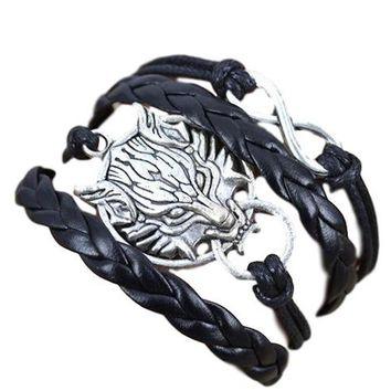 Unique Wolf/Fox, Infinity Charms Multi Layered Faux Leather Wrap Fashion Bracelet