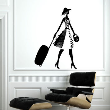 Wall Decal Vinyl Sticker Decals Home Decor Mural Fashion Girl Travel Shopping Woman Hairdressing Hair Beauty Salon Decor SV6038