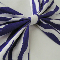 Purple and White zibra print fabric barrette for teens and women,french barrette, hair bows bow hair clip big bow hair clip