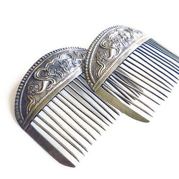 Chinese Silver Combs Repousse Box Kites Antique Hair Accessories