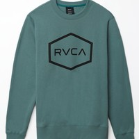RVCA Hexed Crew Neck Sweatshirt - Mens Hoodie - Green