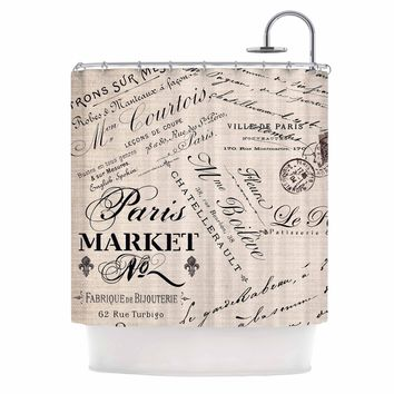 "Sylvia Cook ""French Script"" Handwriting Shower Curtain - Outlet Item"