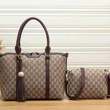 NOV9O2 Gucci Women Leather Shoulder Bag Satchel Tote Handbag Crossbody Set Two Piece-3