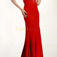 Red Strapless Beaded Chiffon Evening Gown
