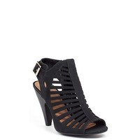 Notorious 4 Stacked Heel Black Cut Out Open Toe Booties