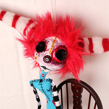 Clown Art Doll. poseable Circus puppet, big eyes, Horns, tears, Love Me, creepy strange. crudeart crude art