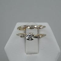 Beautiful Vintage 1940's 14K Gold and Diamond Wedding Set.  Matching Engagement Ring and Wedding Band.