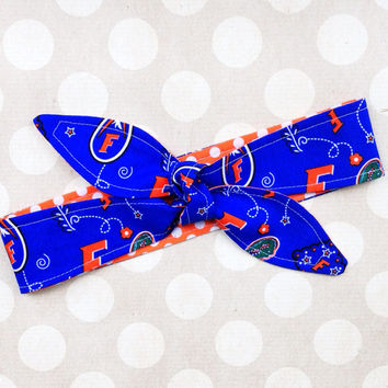 Game Day - Florida GATORS Adult Dolly Bow REVERSIBLE Tie Up Headscarf Headband Bandana Hair Accessory Boho Preppy Rockabilly College SEC