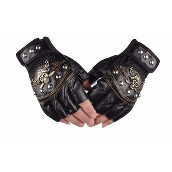 Skull Gloves Leather Skeleton Motorcycle Cross Racing Gloves Half Fingers