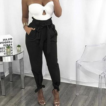 DeRuiLaDy 2018 Summer New Solid Color OL Loose Harem Black Pants Women Fashion High Waist Female Casual Trousers Pantalones