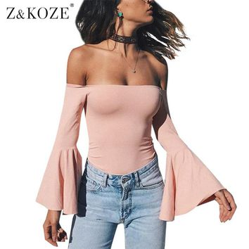 Z&KOZE Flare Sleeve Sexy Off Shoulder Bodysuit Women Long Sleeve Slash Neck Skinny Autumn Women Rompers Pink Bodysuit Jumpsuit