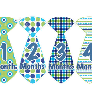 Baby Month Stickers Baby Boy Monthly Onesuit Stickers Blue Green Plaid Preppy Boy Tie Month Stickers Baby Shower Gift Photo Prop Edward
