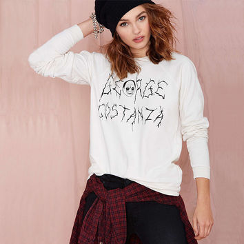 Casual Letter Printed Long Sleeve White Sweat Shirt
