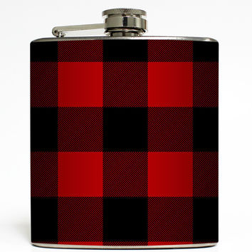 Red & Black Buffalo Plaid - Lumberjack Flask