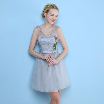 Formal Dress Bow Beautiful Bridesmaids Dresses Backless Lace Up Flower Appliques Lady