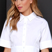 Simply Suave Ivory Button-Up Crop Top