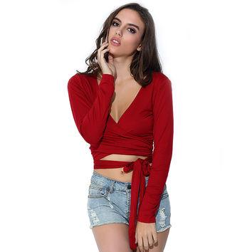 Aproms Sexy V Neck Criss Cross Tops Women Summer Black Red Long Sleeve T Shirt Crop Top Ladies Slim Cropped Tee Shirt Femme
