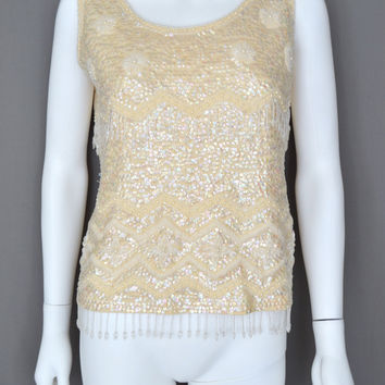 Full Sequin Beaded Fringe Flapper Top Evening Ivory Winter White Tank Shell (Vintage)