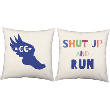 Set of 2 Shut Up And Run Pillows - Cross Country Pillow Covers and Or Cushion Inserts - Running Print, Cross Country, Runner, Coach Gift, XC