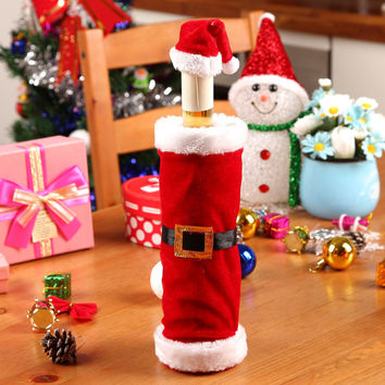 Red Plush Wine Bottle Cover Christmas Decorations Santa Claus Costume Clothes Hat Buckle Dress Christmas Party Decor
