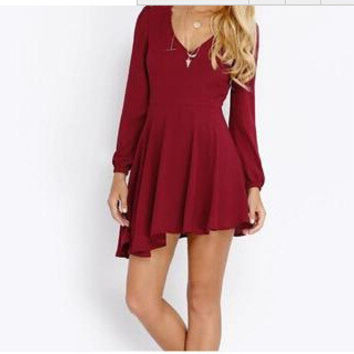Plus Size Slim Shirt One Piece Dress [6339041473]