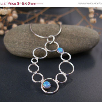SUMMER SALE Bubble jewelry, Blue opal necklace, bubble necklace in sterling silver