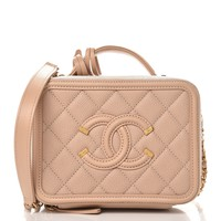 CHANEL Caviar Quilted Small CC Filigree Vanity Case Beige