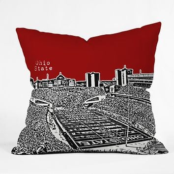 Bird Ave Ohio State Buckeyes Red Throw Pillow